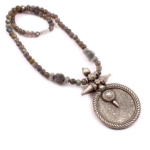 Silver Gold Plated, Labradorite Gemstone Beads Neckpiece