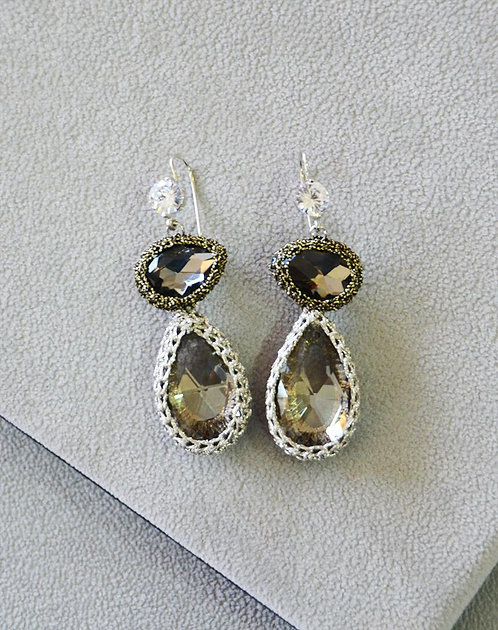 Annalea Crochet Crystal Earrings