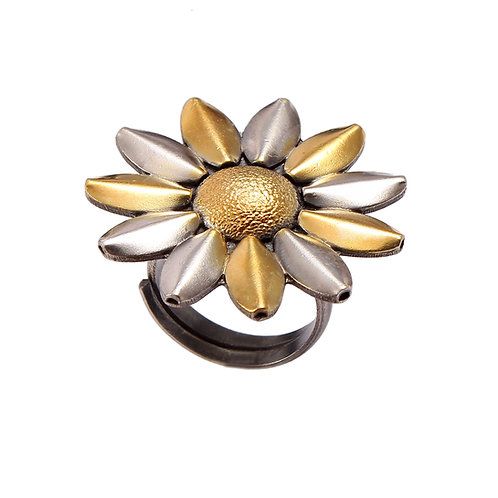 Silver Gold Plated, Sun-Floral, Designer Ring