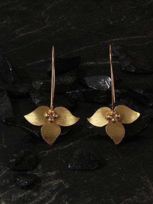 Berserk Gold Plated Inverted Floral Long Loops