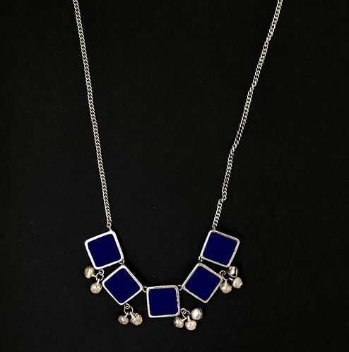 Square long necklace - navy blue