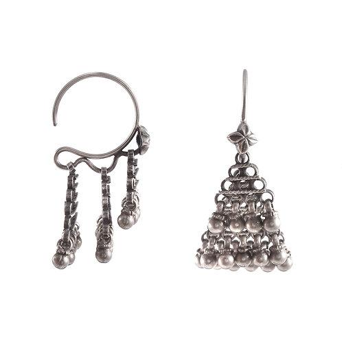 Silver Antique Design Ear Hoops