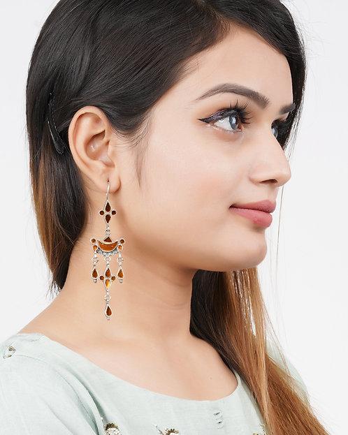 Silver Yellow Glass Drop Earrings
