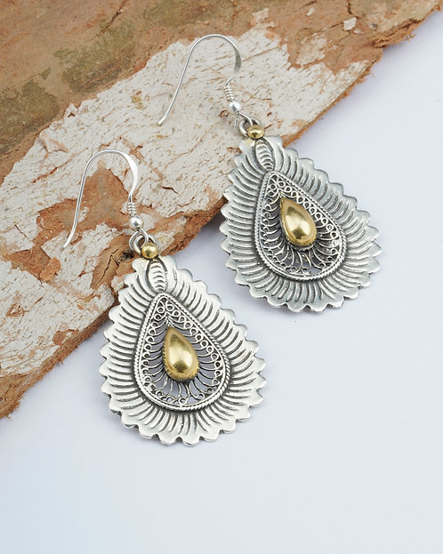 Gold Plated Silver Tear-Drop Earrings