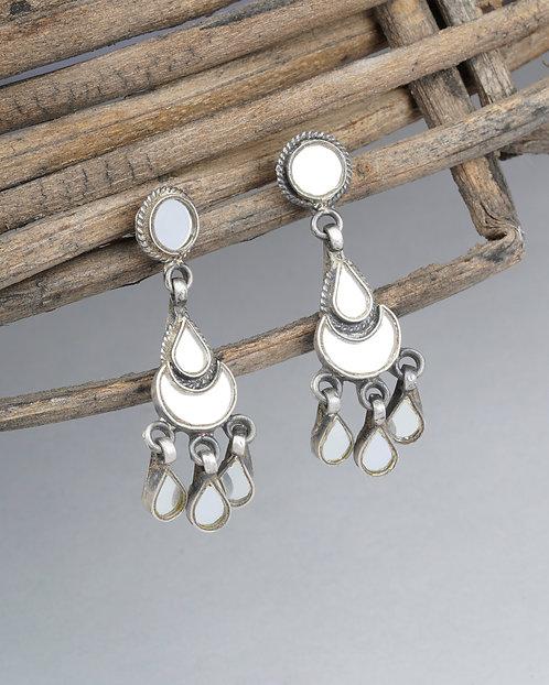 Silver White Glass Ear Studs