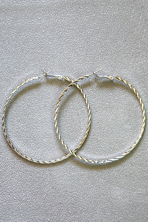 Greta Silver Hoop Earrings