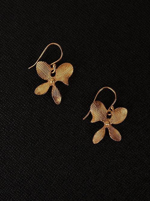 Berserk Gold Plated Assymetric Floral Loops
