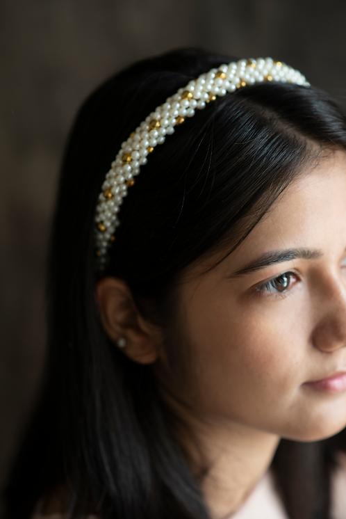 White and Gold Pearl Handmade Headband