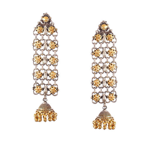 Silver Gold Plated, Floral With Ghungroo Stud Jhumkis