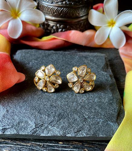 Starre Flower Uncut Diamond Earrings