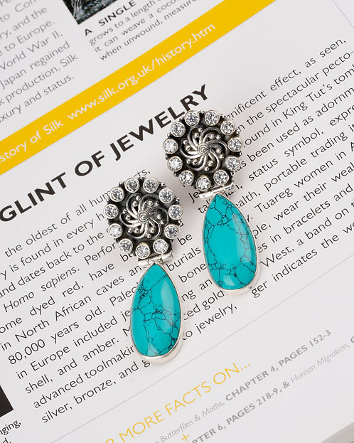 Silver Floral Turquoise Onyx Ear Studs