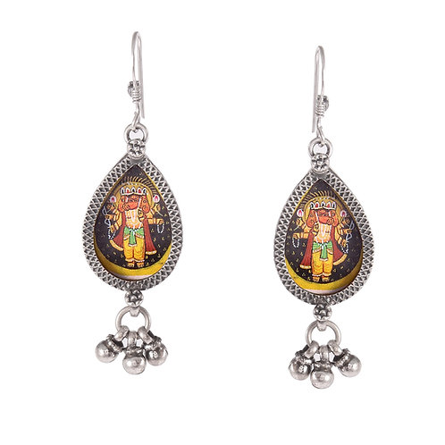 Silver Lord Ganesha Drop Earrings