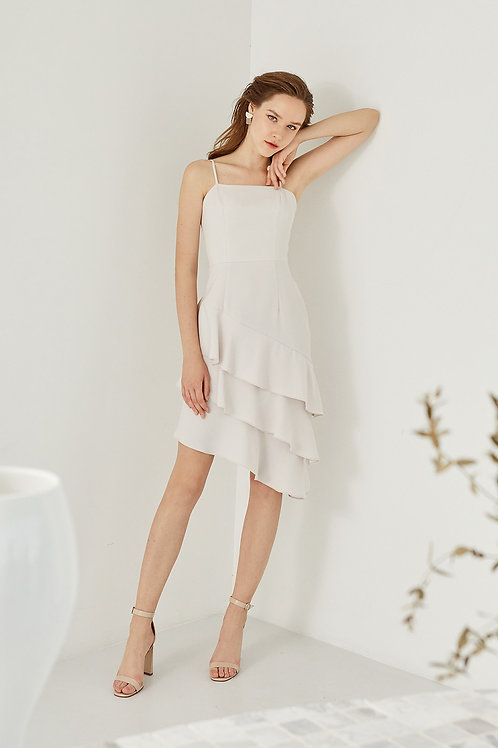 MANDY RUFFLE DRESS (GREYISH WHITE)