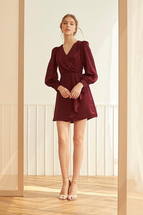 VALENTINA DRESS (BURGUNDY)