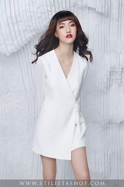 WHITE BOW BLAZER DRESS