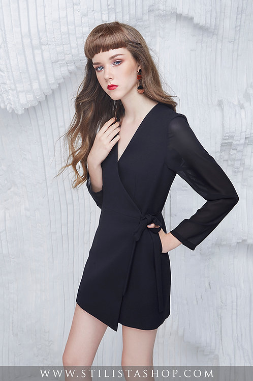 BLACK BOW BLAZER DRESS