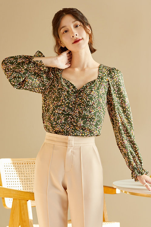 POPPY TOP - GREEN FLORAL