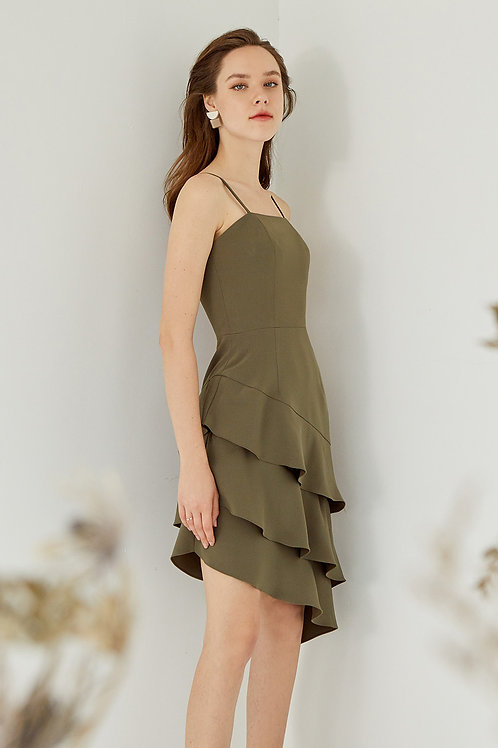 MANDY RUFFLE DRESS (DARK OLIVE)