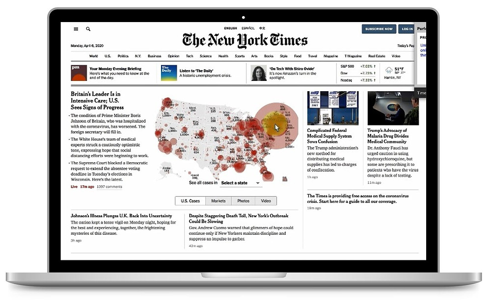 Figure 4: Task research participant demonstrating how she uses the interactive maps on the NY Times to find information about COVID-19.