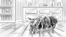 richard rios storyboard dog eating from bowl illustration