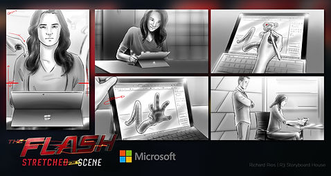 Richard Rios advertising storyboard. The CW and DC comics The  Flash stretched scene, microsoft surface pro.