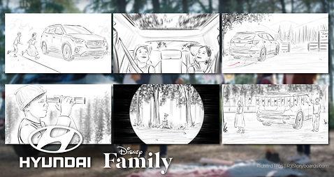 Disney Family Hyundai video storyboards with theHyundai Santa Fe