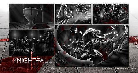 Richard Rios storyboards. History channel Knightfall templar knights promo art