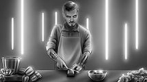 richard rios storyboards man chef cooking with knife illustration