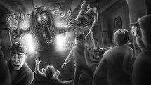 Richard Rios storyboard art, horror scene with children