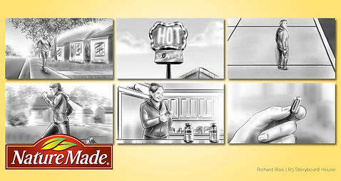 Richard Rios advertising storyboard. Woman taking nature madevitamin supplement, running from a donut shop.