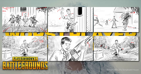 PlayerUnknown's Battleground advertising and commercial storyboards for the worst gamer in the world.
