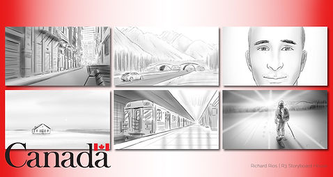 Richard Rios advertising storyboard. Canada landscapes.