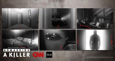 Richard Rios storyboards. CNN HLN Unmaskng a killer. Dark, noir, crime scene.