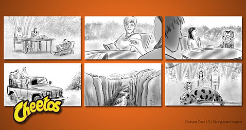 Richard Rios advertising storyboard. Cheetos adventure with Chester the cheetah to find a chameleon.