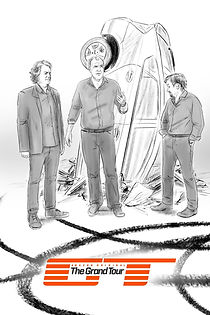 Sketch Art Sample the Grand Tour with jeremy clarkson and crashed prius