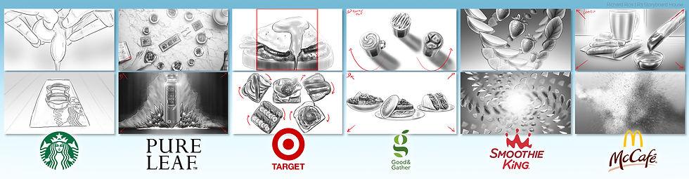 Richard Rios advertising storyboards various food commercials