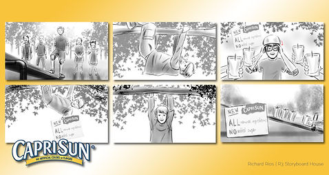 Richard Rios advertising storyboard. Caprisun, children playing on a see-saw.