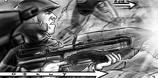 Richard Rios Halo storyboard sample. Marine firing assault rifle.