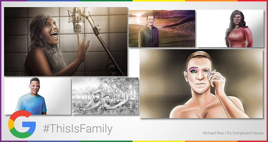 Richard Rios color storyboards. Google Pixel Pride Campaign this is family. Lgbt gay trans drag queen.