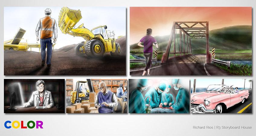 Richard Rios color storyboard sample. Construction running surgery doctors cadillac.