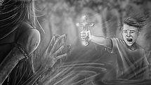 Boy fighting demon in water, Richard Rios storyboard art