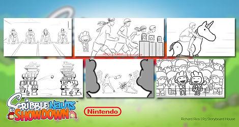 Richard Rios video game storyboard. Scribblenaut showdown trailer for nintendo.
