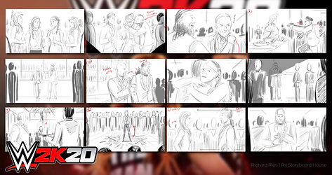 WWE 2K20 storyboards done for a commercial for the video game based on wwe wrestling.