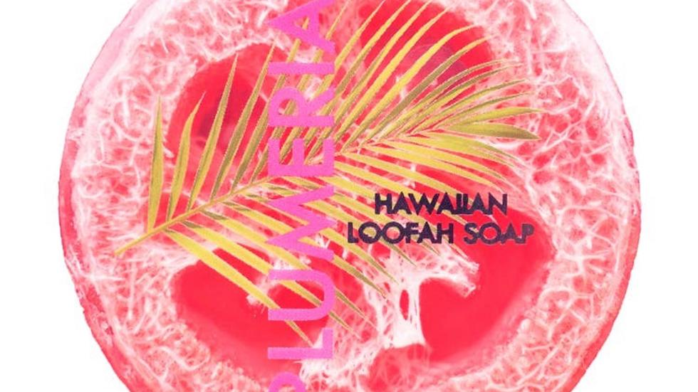 Plumeria Sea Salt & Kukui Exfoliating Loofah Soap