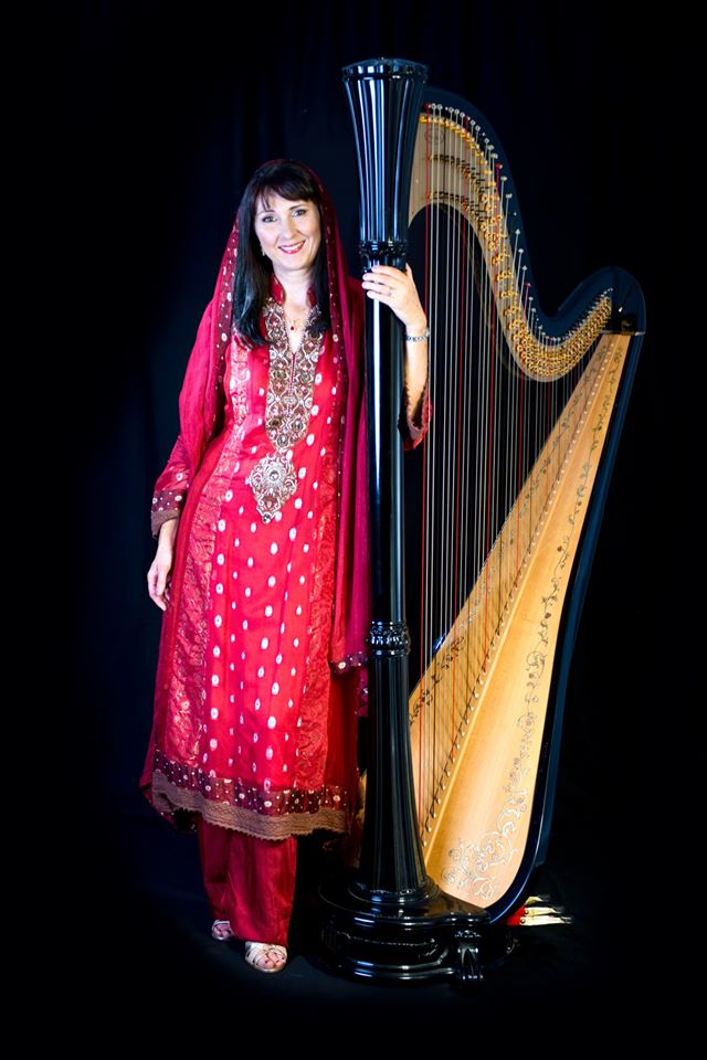 Oona Linnett Harpist Indian Wedding