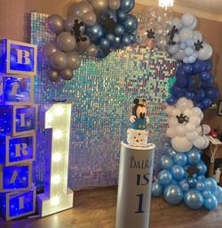 1st Birthday Setup Shimmer wall
