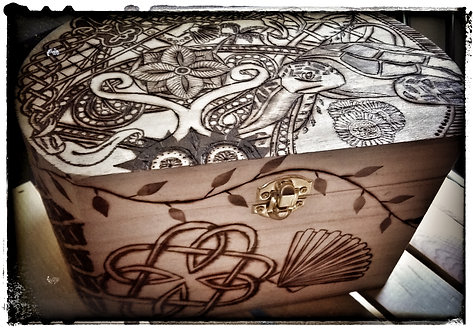 Pyrography enhanced Treasure Box