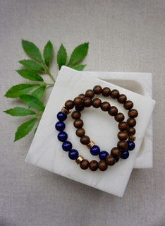 Natural/Sapphire Blue Stone and Wood Bead Bracelet - Set of 2