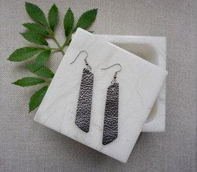 Metallic Silver Leather Bar Earrings
