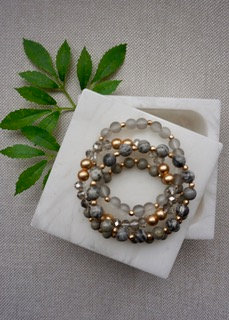 Four Lines Mixed Beads Bracelet - Light Gray